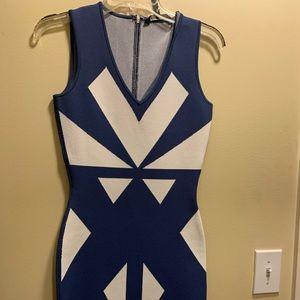Blue and white BCBGMaxAzria bandage dress